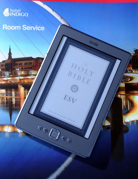 Kindle with the Bible on the Screen